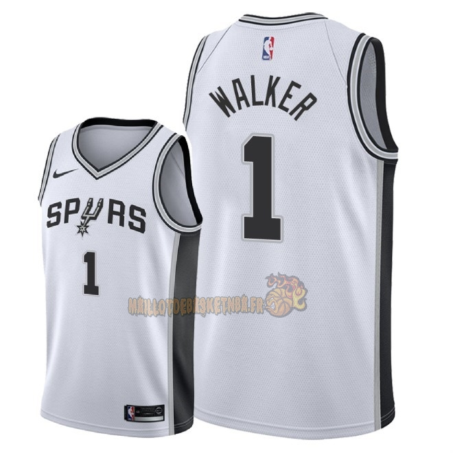 Vente Nouveau Maillot NBA Nike San Antonio Spurs NO.1 Lonnie Walker Blanc Association 2018 Pas Cher