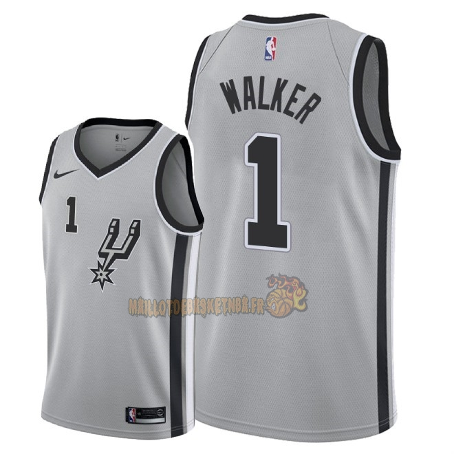 Vente Nouveau Maillot NBA Nike San Antonio Spurs NO.1 Lonnie Walker Gris Statement 2018 Pas Cher