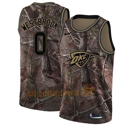 Vente Nouveau Maillot NBA Oklahoma City Thunder NO.0 Russell Westbrook Camo Swingman Collection Realtree 2018 Pas Cher