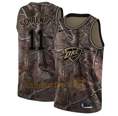 Vente Nouveau Maillot NBA Oklahoma City Thunder NO.11 Detlef Schrempf Camo Swingman Collection Realtree 2018 Pas Cher