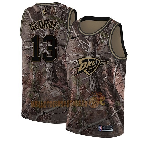Vente Nouveau Maillot NBA Oklahoma City Thunder NO.13 Paul George Camo Swingman Collection Realtree 2018 Pas Cher