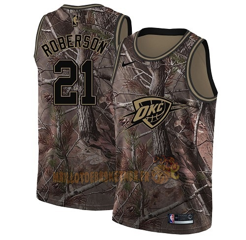 Vente Nouveau Maillot NBA Oklahoma City Thunder NO.21 Andre Roberson Camo Swingman Collection Realtree 2018 Pas Cher