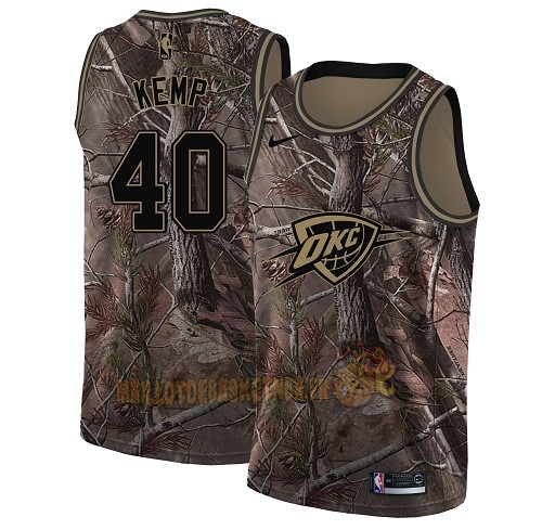 Vente Nouveau Maillot NBA Oklahoma City Thunder NO.40 Shawn Kemp Camo Swingman Collection Realtree 2018 Pas Cher