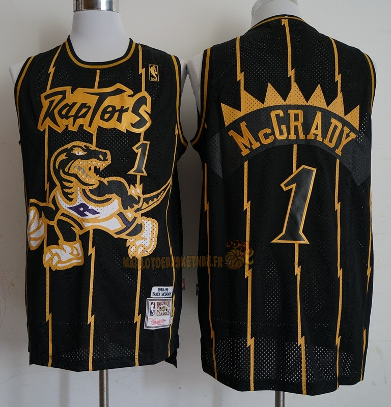 Vente Nouveau Maillot NBA Toronto Raptors NO.1 Tracy McGrady Retro Or Noir 1998-99 Pas Cher