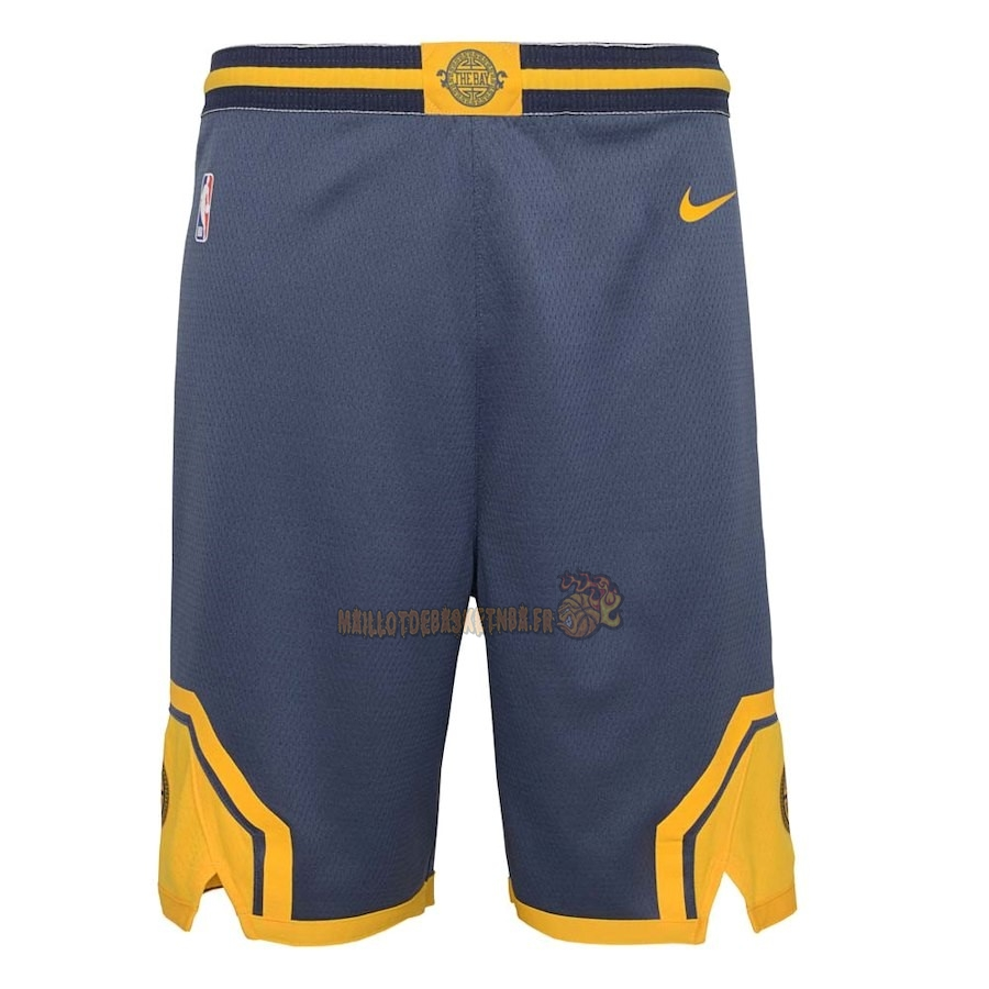 Vente Nouveau Short Basket Enfant Golden State Warriors Nike Marine Ville 2018-19 Pas Cher