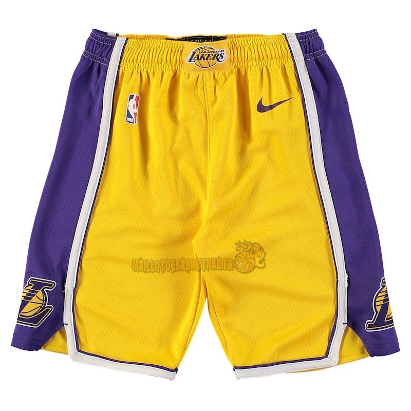 Vente Nouveau Short Basket Enfant Los Angeles Lakers Nike Jaune 2018 Pas Cher