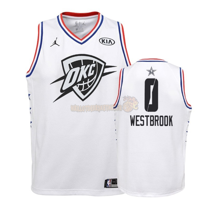Vente Nouveau Maillot NBA Enfant 2019 All Star NO.0 Russell Westbrook Blanc Pas Cher