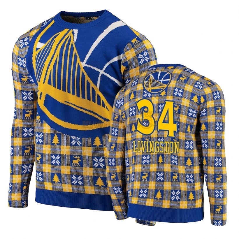 Vente Nouveau Unisex Ugly Sweater Golden State Warriors NO.34 Shaun Livingston Bleu Pas Cher