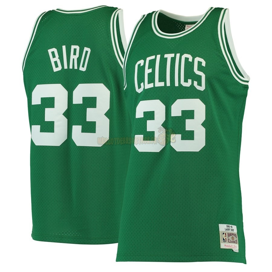 Vente Nouveau Maillot NBA Boston Celtics NO.33 Larry Bird Vert Hardwood Classics 1985-86 Pas Cher