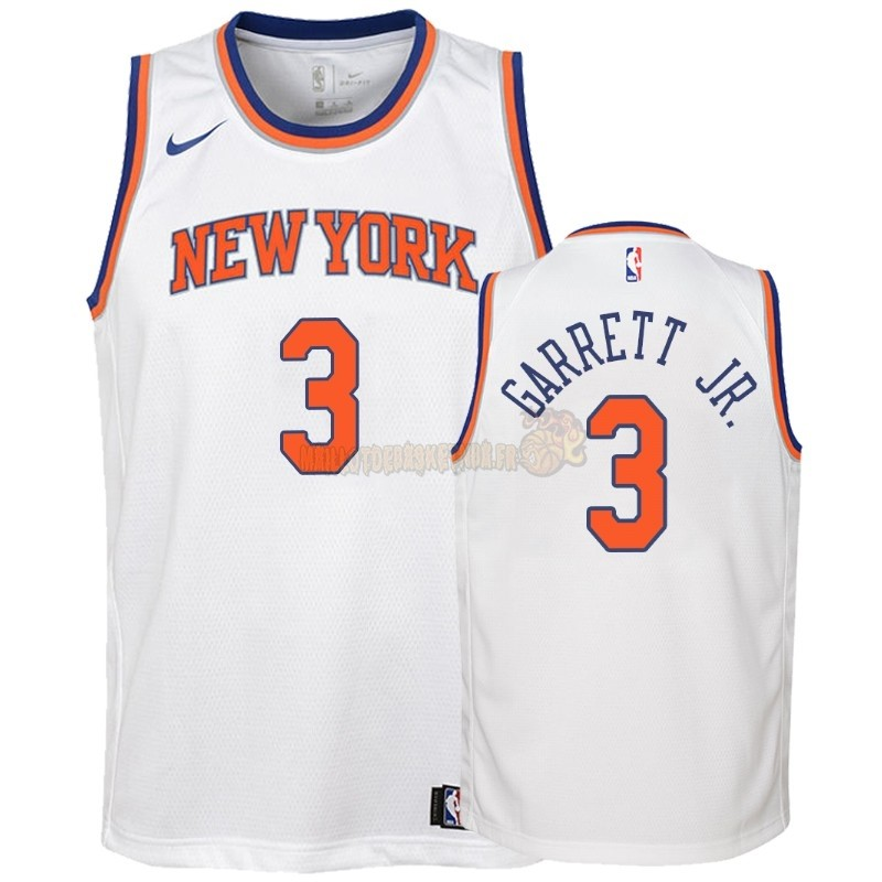 Vente Nouveau Maillot NBA Enfant New York Knicks NO.3 Billy Garrett Jr. Blanc Association 2018-19 Pas Cher