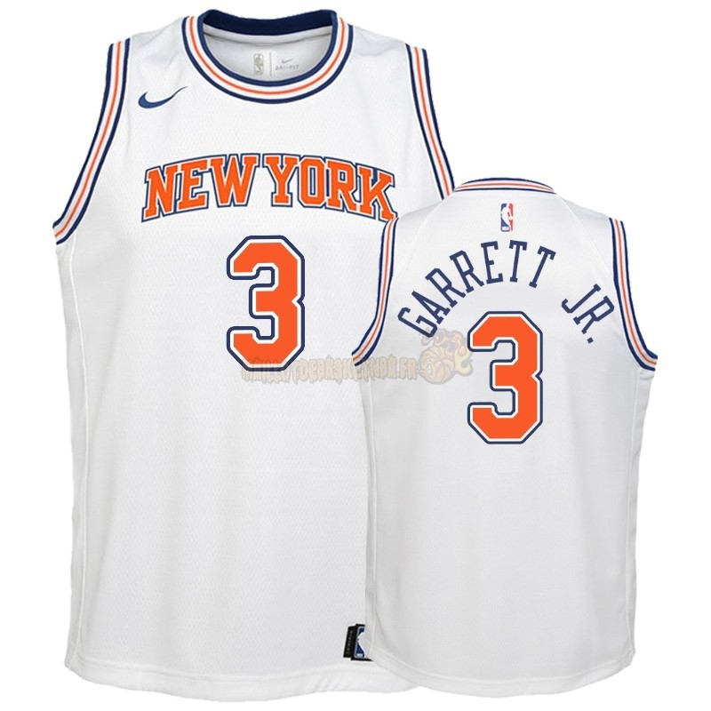 Vente Nouveau Maillot NBA Enfant New York Knicks NO.3 Billy Garrett Jr. Blanc Statement 2018-19 Pas Cher