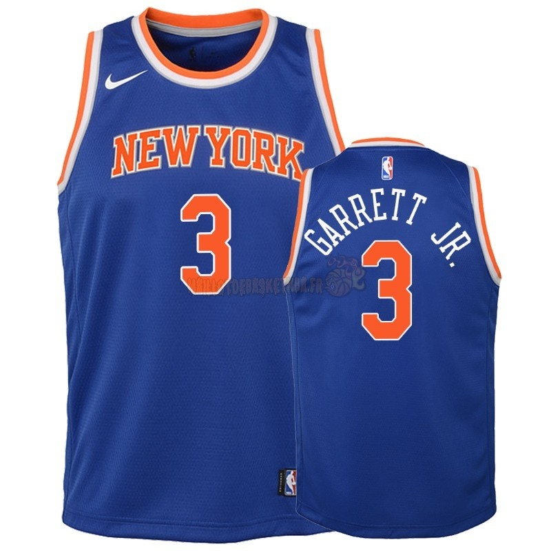 Vente Nouveau Maillot NBA Enfant New York Knicks NO.3 Billy Garrett Jr. Bleu Icon 2018-19 Pas Cher