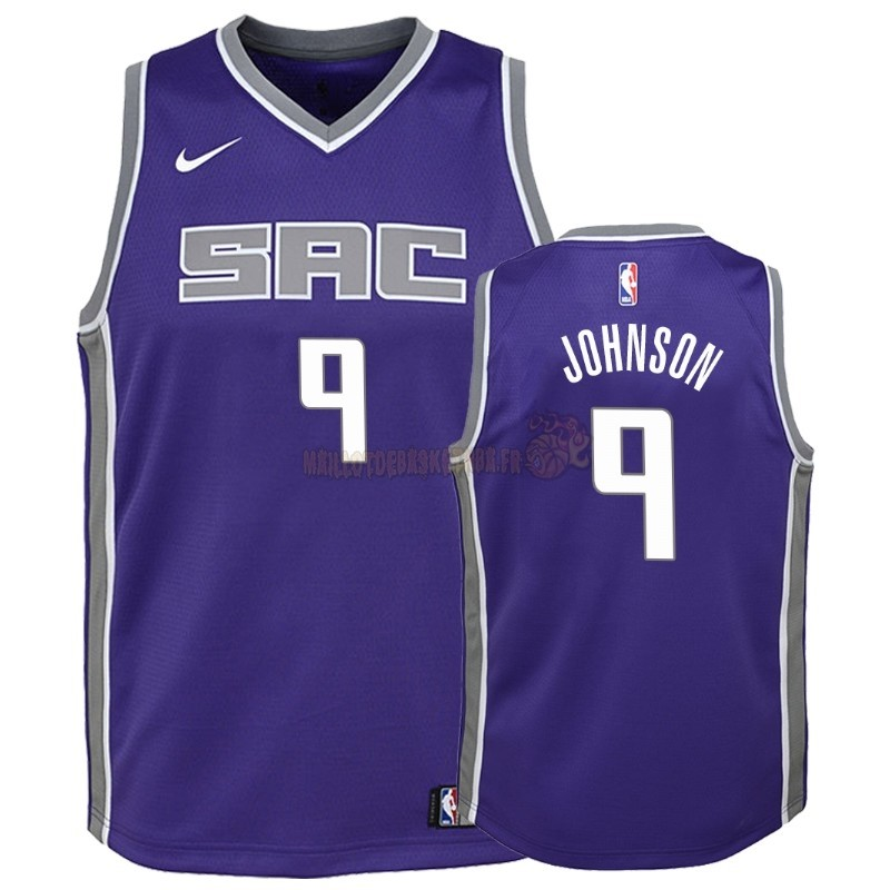Vente Nouveau Maillot NBA Enfant Sacramento Kings NO.9 B.J. Johnson Pourpre Icon Pas Cher