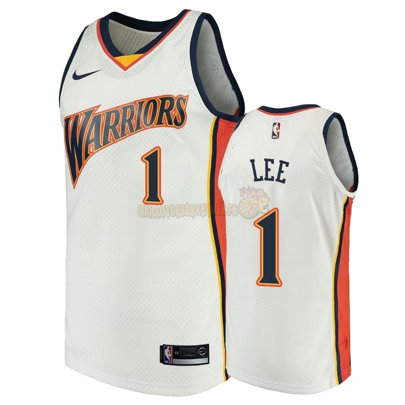 Vente Nouveau Maillot NBA Golden State Warriors NO.1 Damion Lee Blanc Throwback Pas Cher