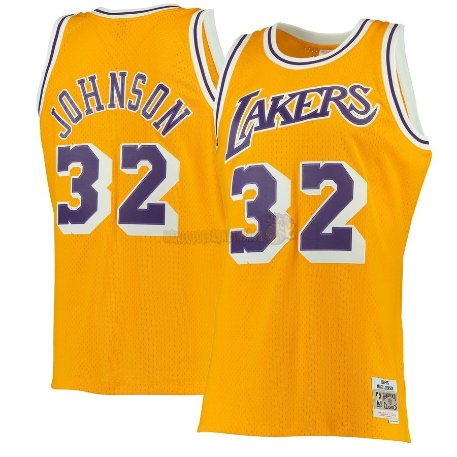 Vente Nouveau Maillot NBA Los Angeles Lakers NO.32 Magic Johnson Jaune Hardwood Classics 1984-85 Pas Cher