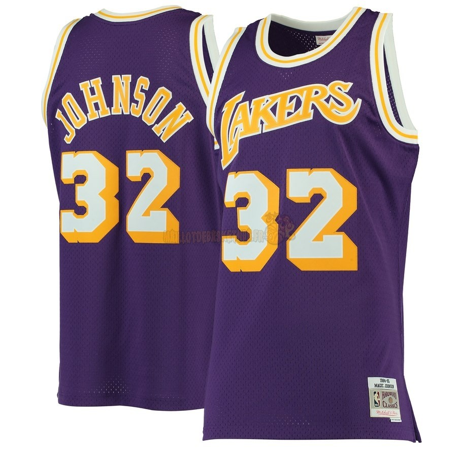 Vente Nouveau Maillot NBA Los Angeles Lakers NO.32 Magic Johnson Pourpre Hardwood Classics 1984-85 Pas Cher