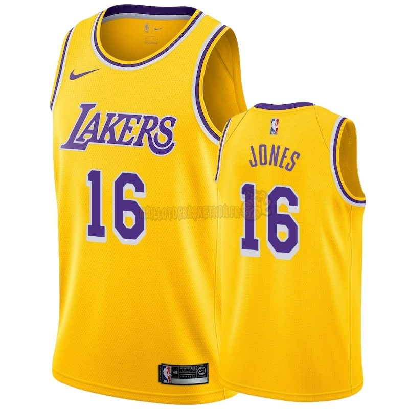 Vente Nouveau Maillot NBA Nike Los Angeles Lakers NO.16 Jemerrio Jones Jaune Icon 2018-19 Pas Cher