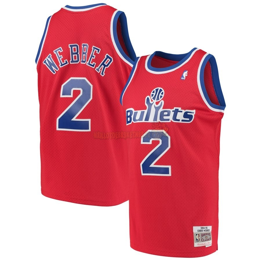 Vente Nouveau Maillot NBA Washington Wizards NO.2 Chris Webber Rouge Hardwood Classics 1994-95 Pas Cher
