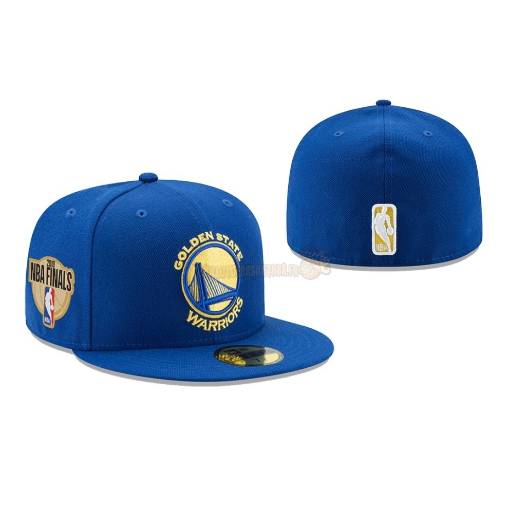 Vente Nouveau Bonnet 2019 NBA Finals Golden State Warriors Bleu 02