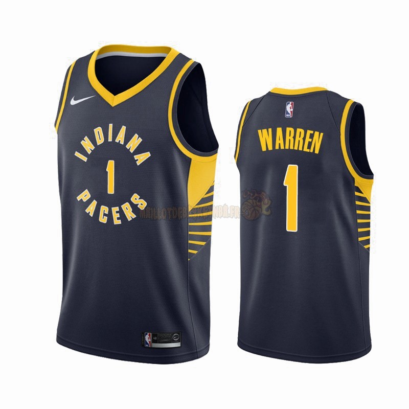 Vente Nouveau Maillot NBA Nike Indiana Pacers NO.1 T.J. Warren Gray Marine Icon 2019-20