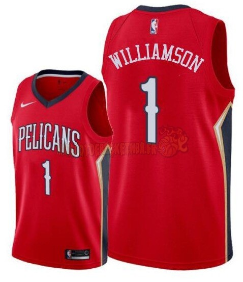 Vente Nouveau Maillot NBA Nike New Orleans Pelicans NO.1 Zion Williamson Rouge 2019-20