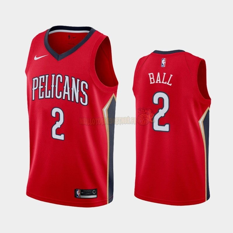 Vente Nouveau Maillot NBA Nike New Orleans Pelicans NO.2 Lonzo Ball Rouge Statement 2019-20