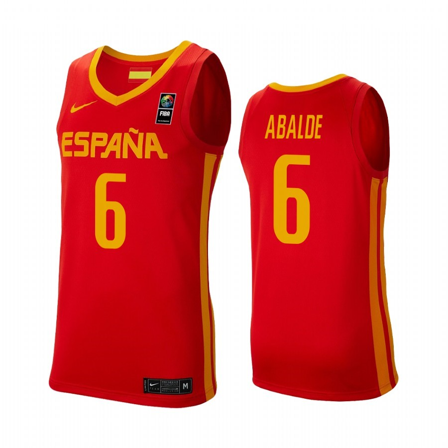 Maillot Coupe Du Monde Basket FIBA 2019 Spain NO.6 Alberto Abalde Rouge