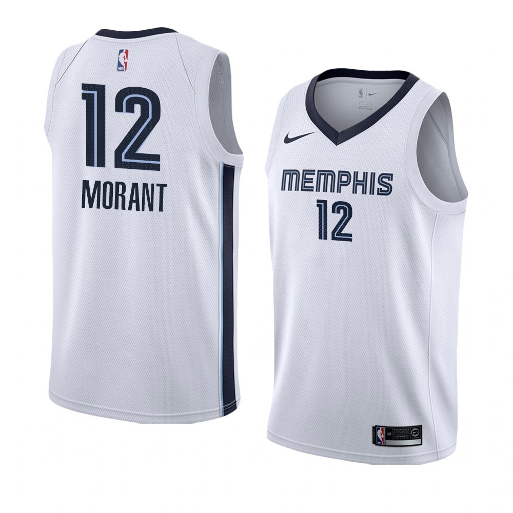 Maillot NBA Nike Menphis Grizzlies NO.12 Ja Morant Blanc Association 2019-20