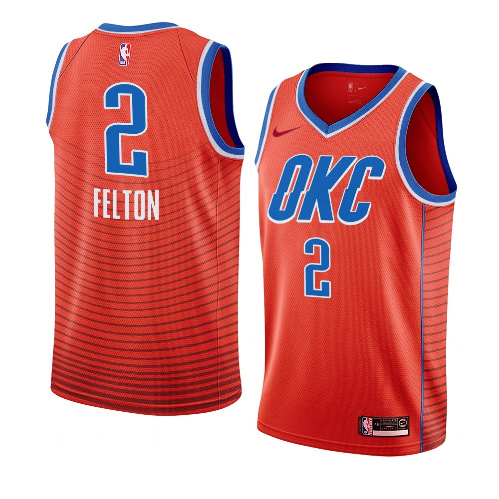 Maillot NBA Nike Oklahoma City Thunder NO.2 Raymond Felton Orange Statement 2019-20