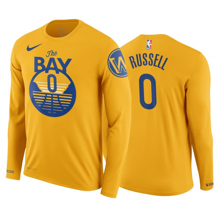 T-Shirt NBA Golden State Warriors D'Angelo Russell Manga Larga Jaune