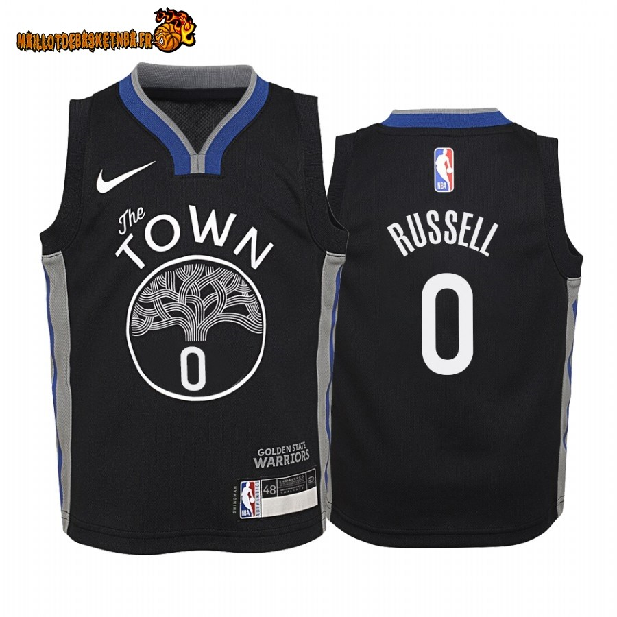 Vente Maillot NBA Enfant Golden State Warriors NO.0 D'Angelo Russell Nike Noir Ville 2019-20 Pas Cher