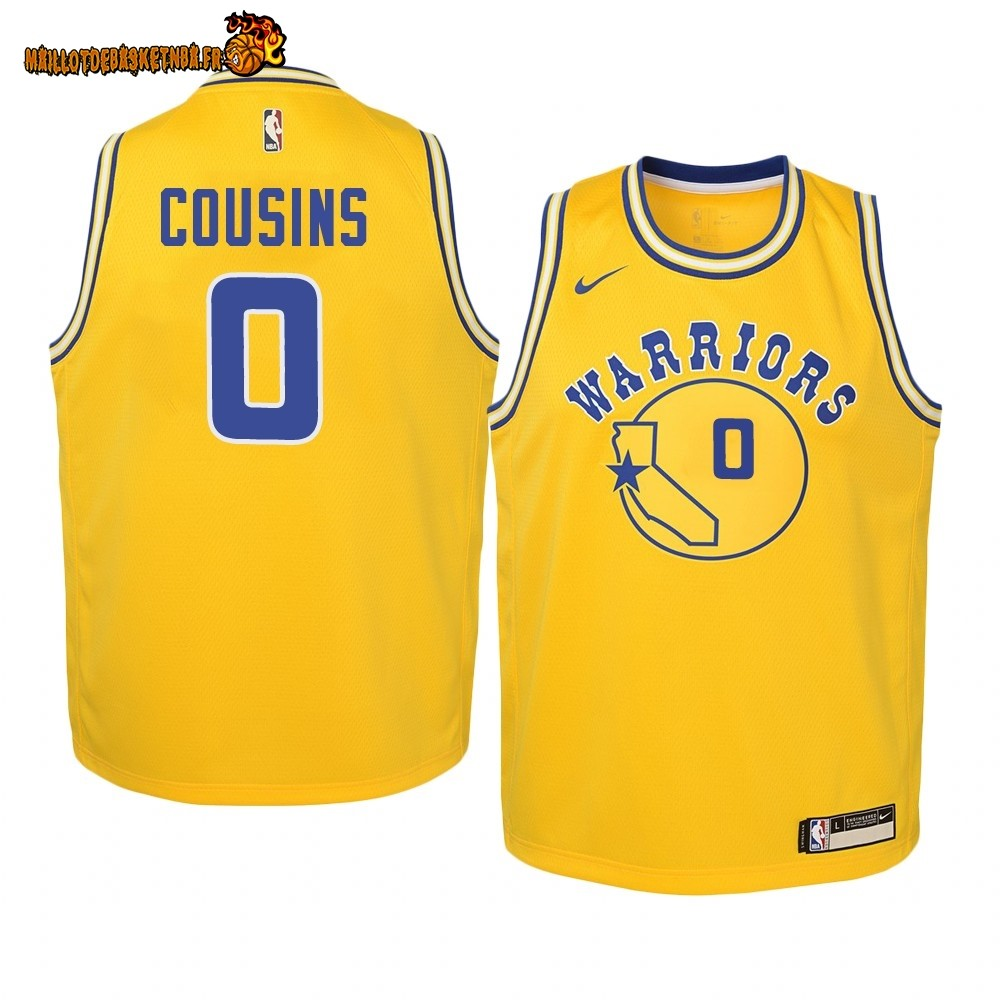 Vente Maillot NBA Enfant Golden State Warriors NO.0 DeMarcus Cousins Or Hardwood Classics 2019-20 Pas Cher