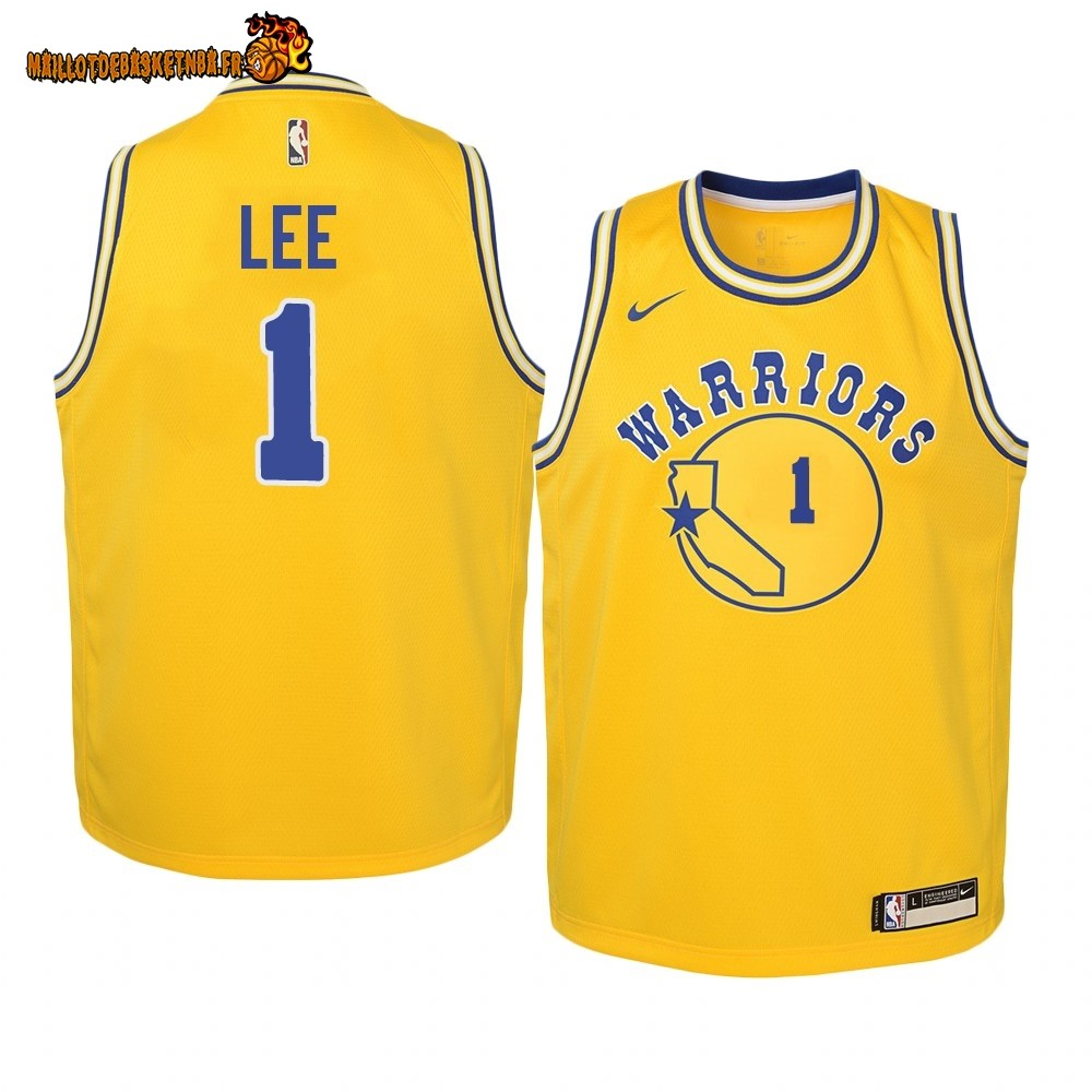 Vente Maillot NBA Enfant Golden State Warriors NO.1 Damion Lee Or Hardwood Classics 2019-20 Pas Cher