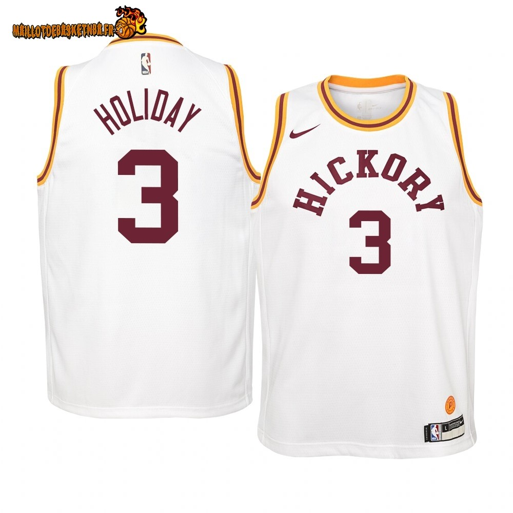 Vente Maillot NBA Enfant Indiana Pacers NO.3 Aaron Holiday Nike Retro Blanc Pas Cher