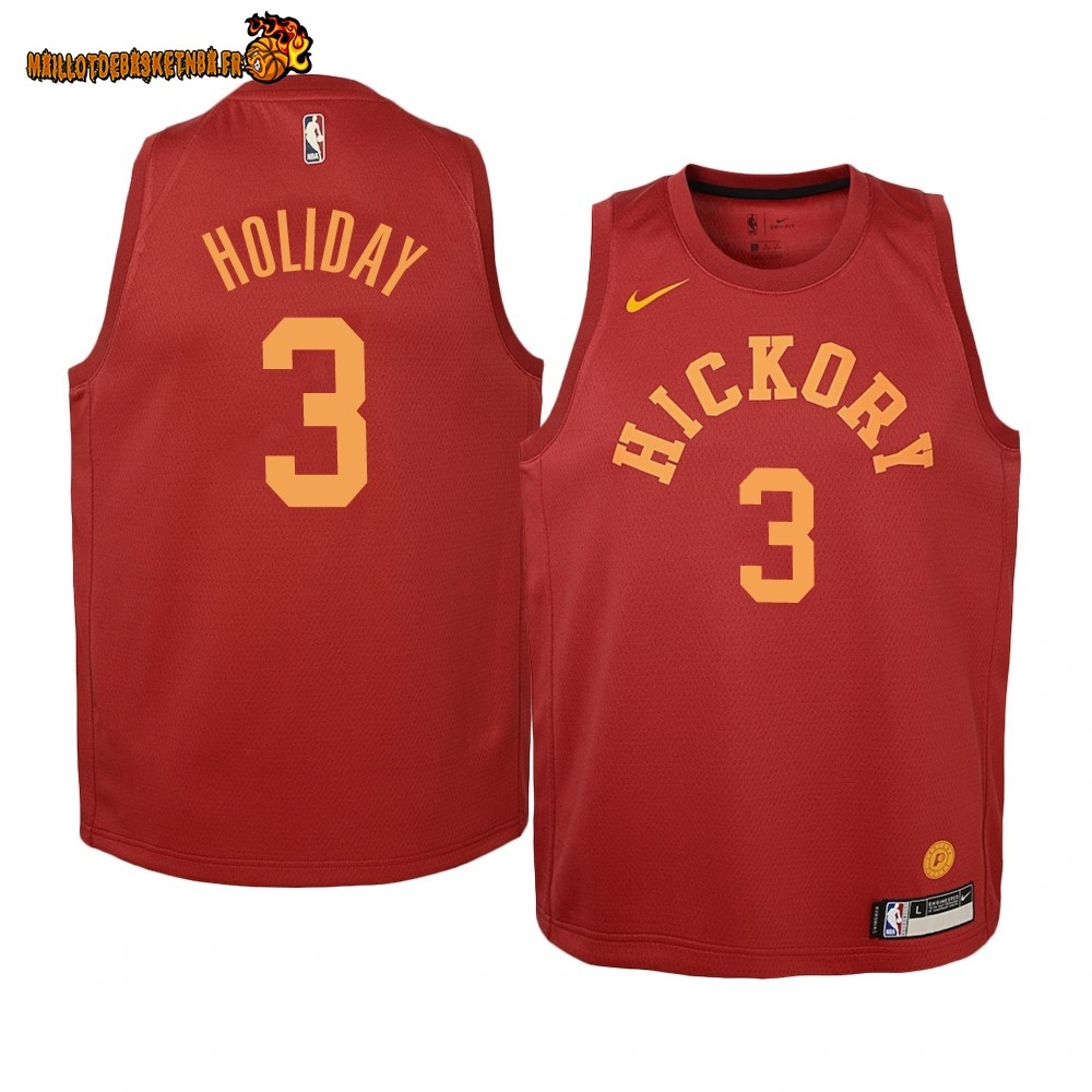 Vente Maillot NBA Enfant Indiana Pacers NO.3 Aaron Holiday Nike Retro Bordeaux Pas Cher
