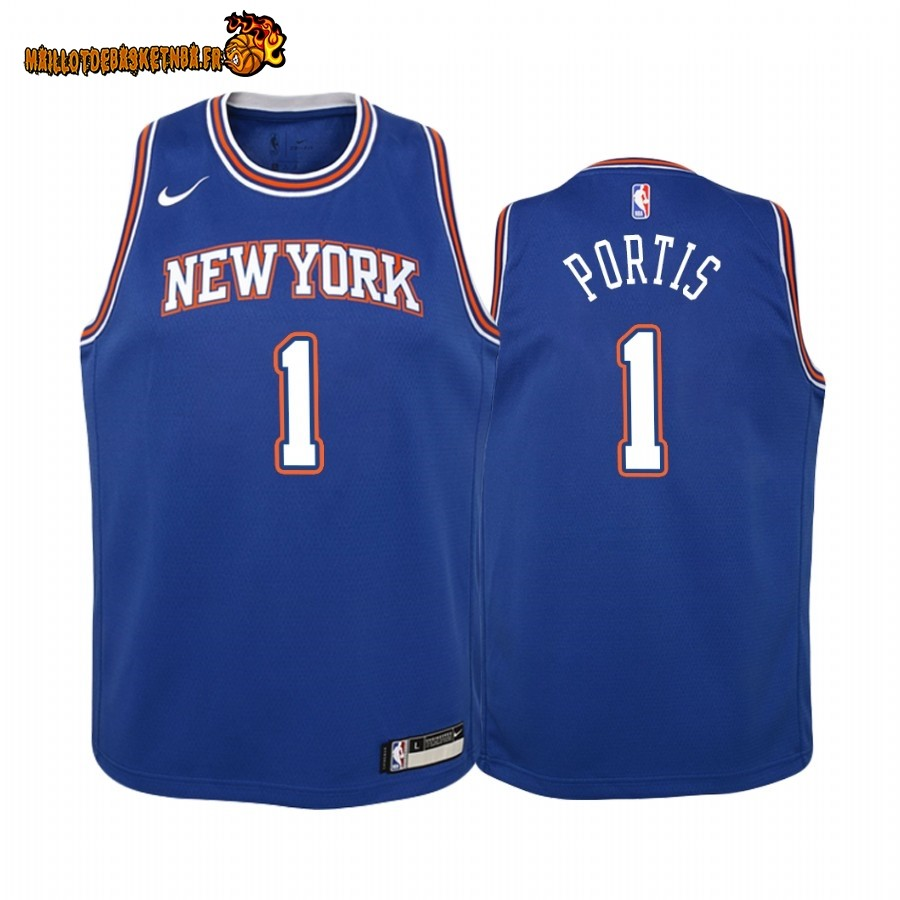 Vente Maillot NBA Enfant New York Knicks NO.1 Bobby Portis Bleu Statement 2019-20 Pas Cher