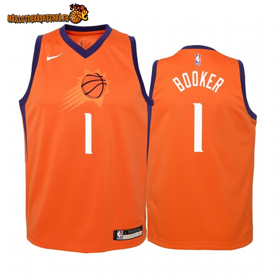 Vente Maillot NBA Enfant Phoenix Suns NO.1# Devin Booker Orange Statement 2019-20 Pas Cher