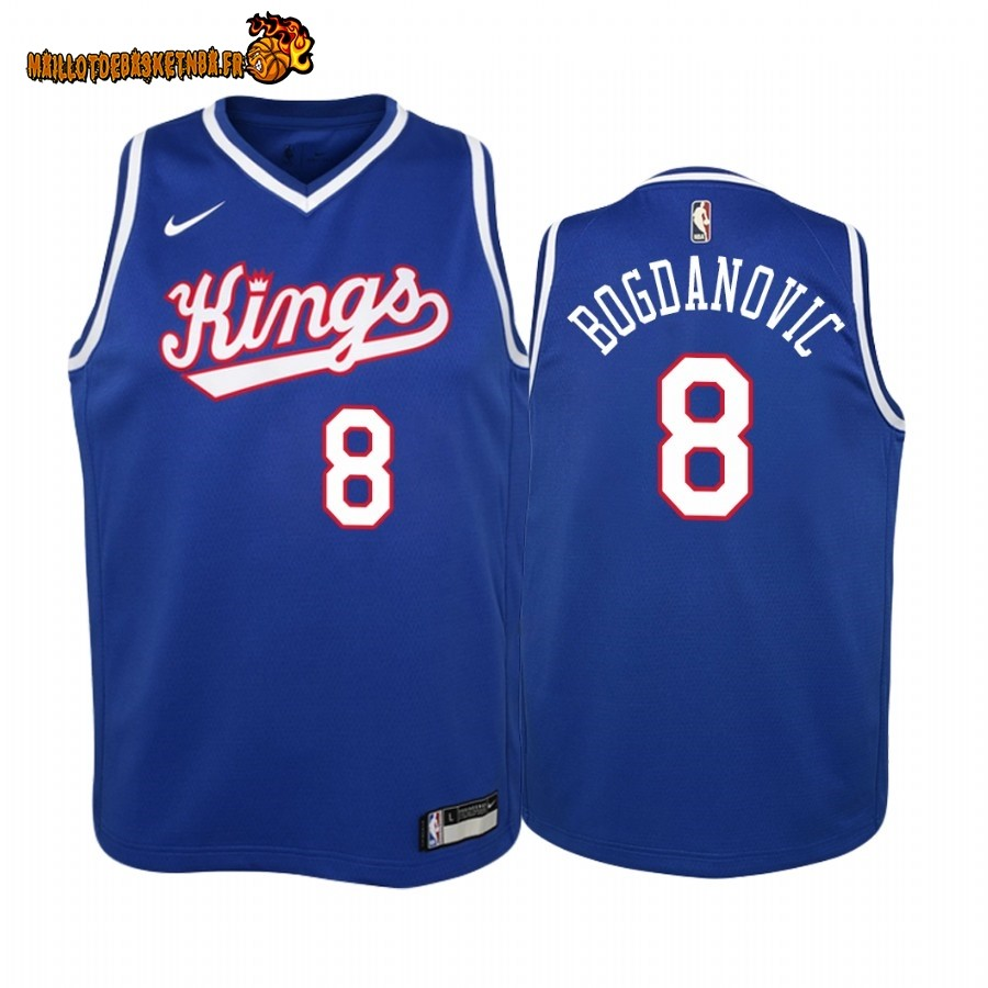 Vente Maillot NBA Enfant Sacramento Kings NO.8 Bogdan Bogdanovic Bleu Throwback Pas Cher