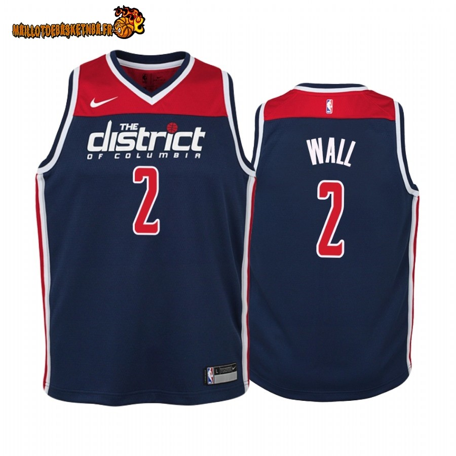 Vente Maillot NBA Enfant Washington Wizards NO.2 John Wall Marine Statement 2019-20 Pas Cher