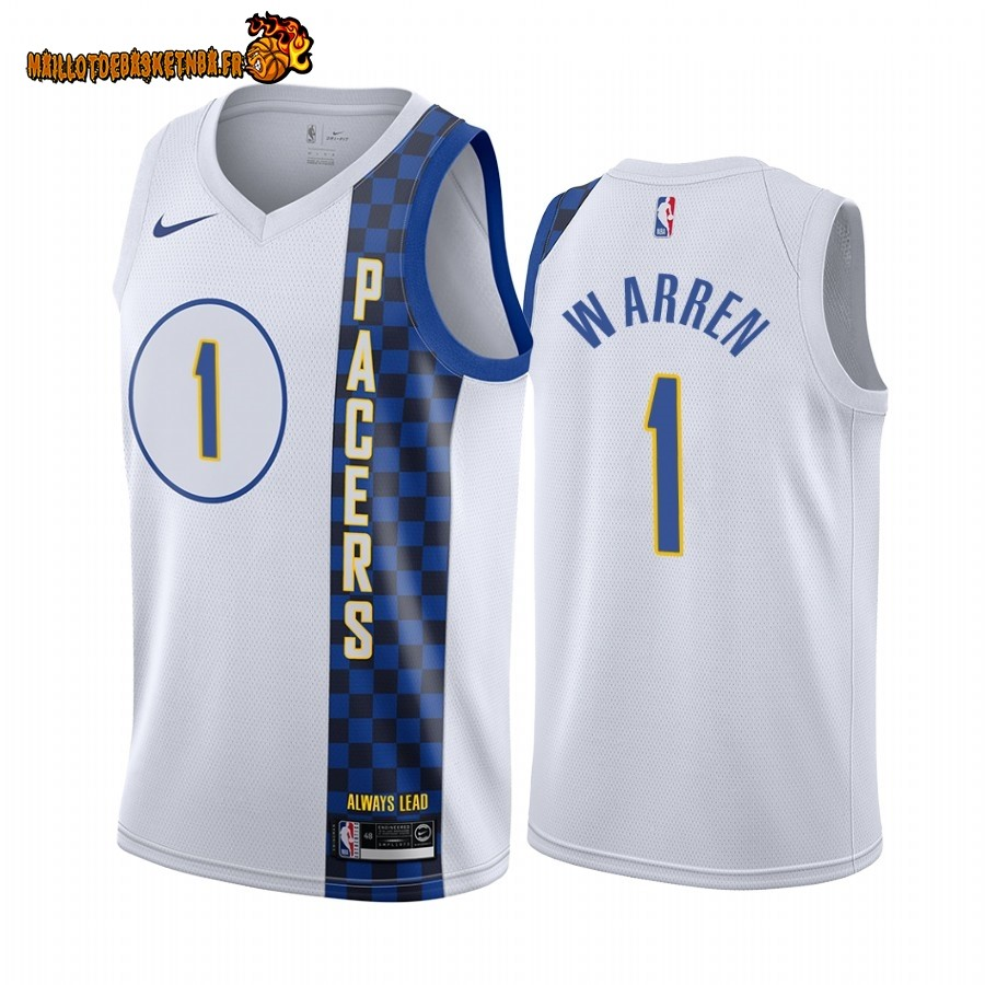 Vente Maillot NBA Nike Indiana Pacers NO.1 T.J. Warren Nike Blacno Ville 2019-20 Pas Cher