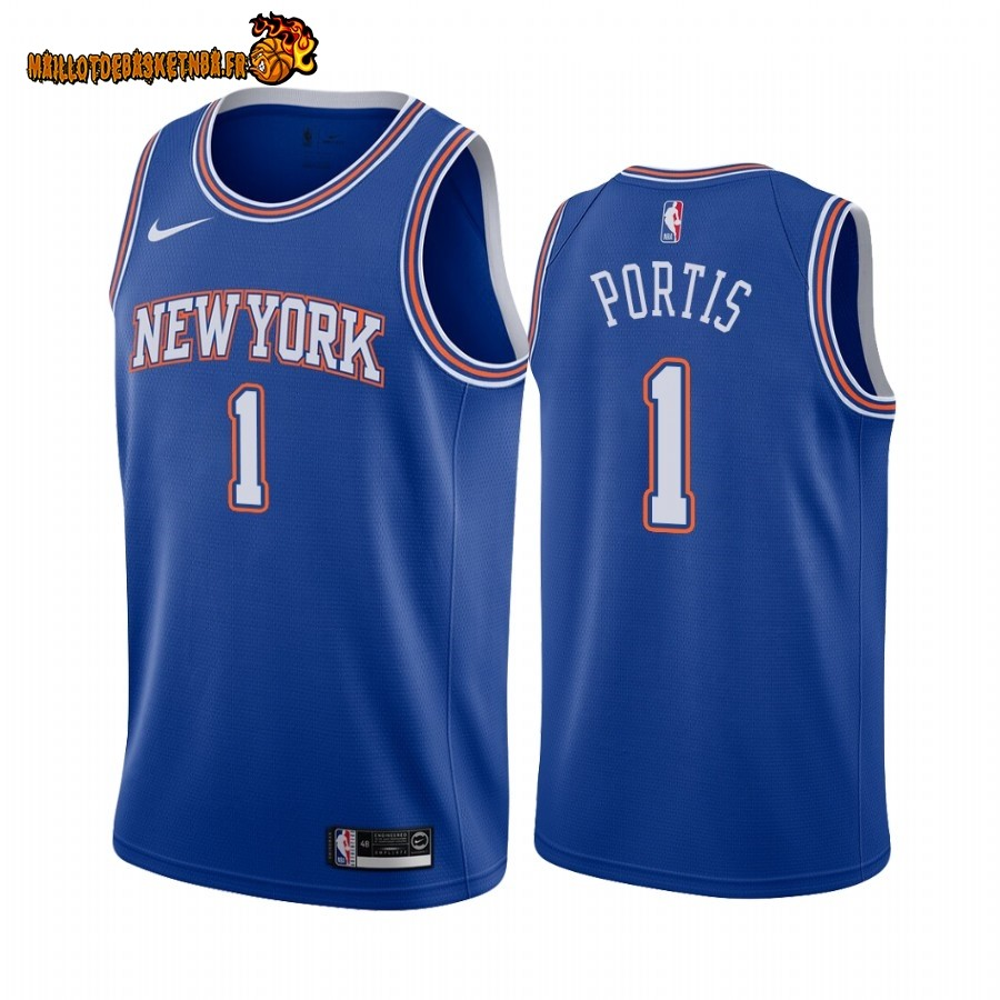 Vente Maillot NBA Nike New York Knicks NO.1 Bobby Portis Bleu Statement 2019-20 Pas Cher