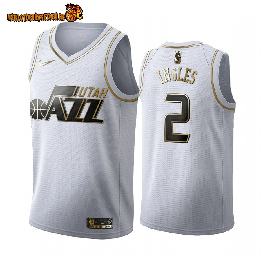 Vente Maillot NBA Nike Utah Jazz NO.2 Joe Ingles Blanc Or 2019-20 Pas Cher