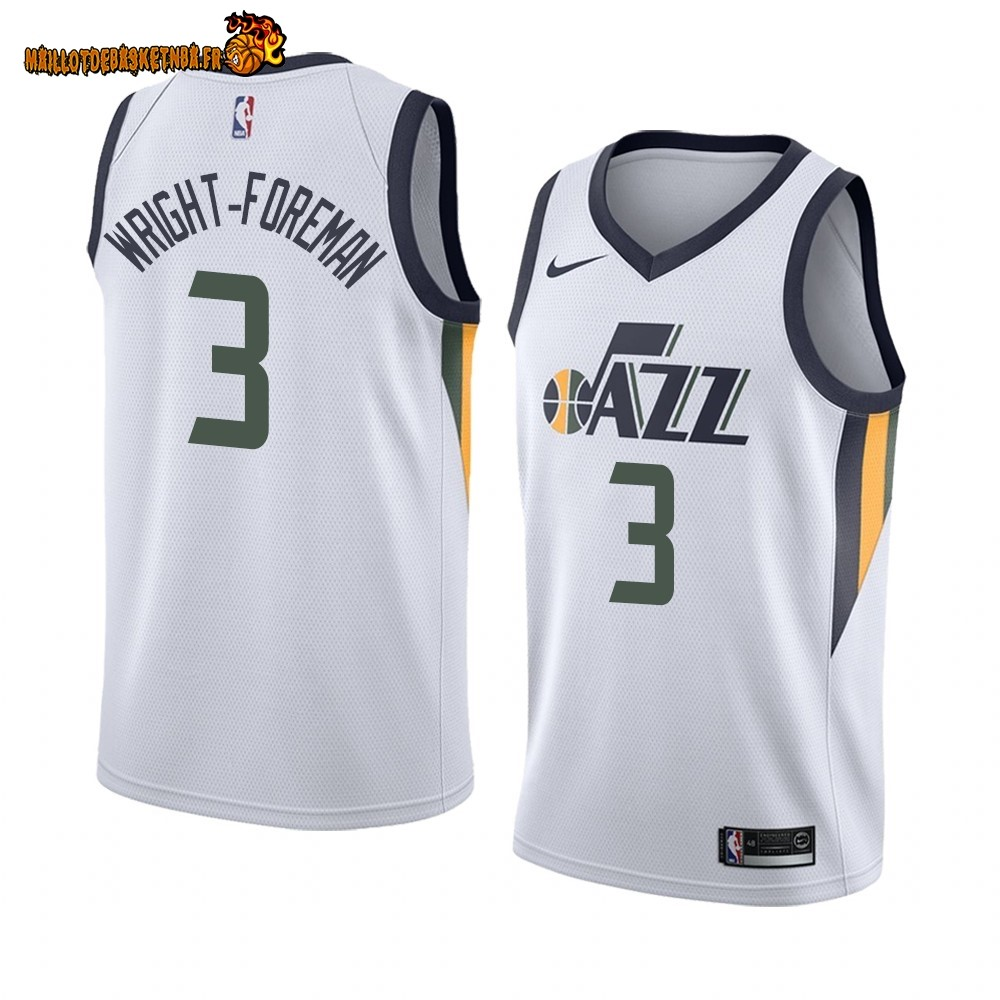 Vente Maillot NBA Nike Utah Jazz NO.3 Justin Wright-Foreman Blanc Association 2019-20 Pas Cher