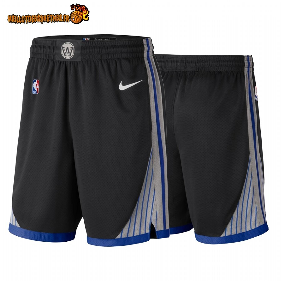 Vente Short Basket Golden State Warriors Nike Noir Ville 2019-20 Pas Cher