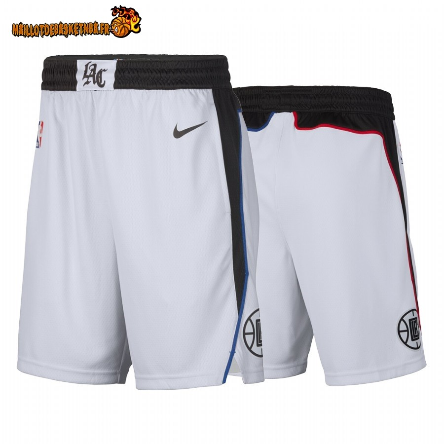 Vente Short Basket Los Angeles Clippers Nike Blanc Ville 2019-20 Pas Cher