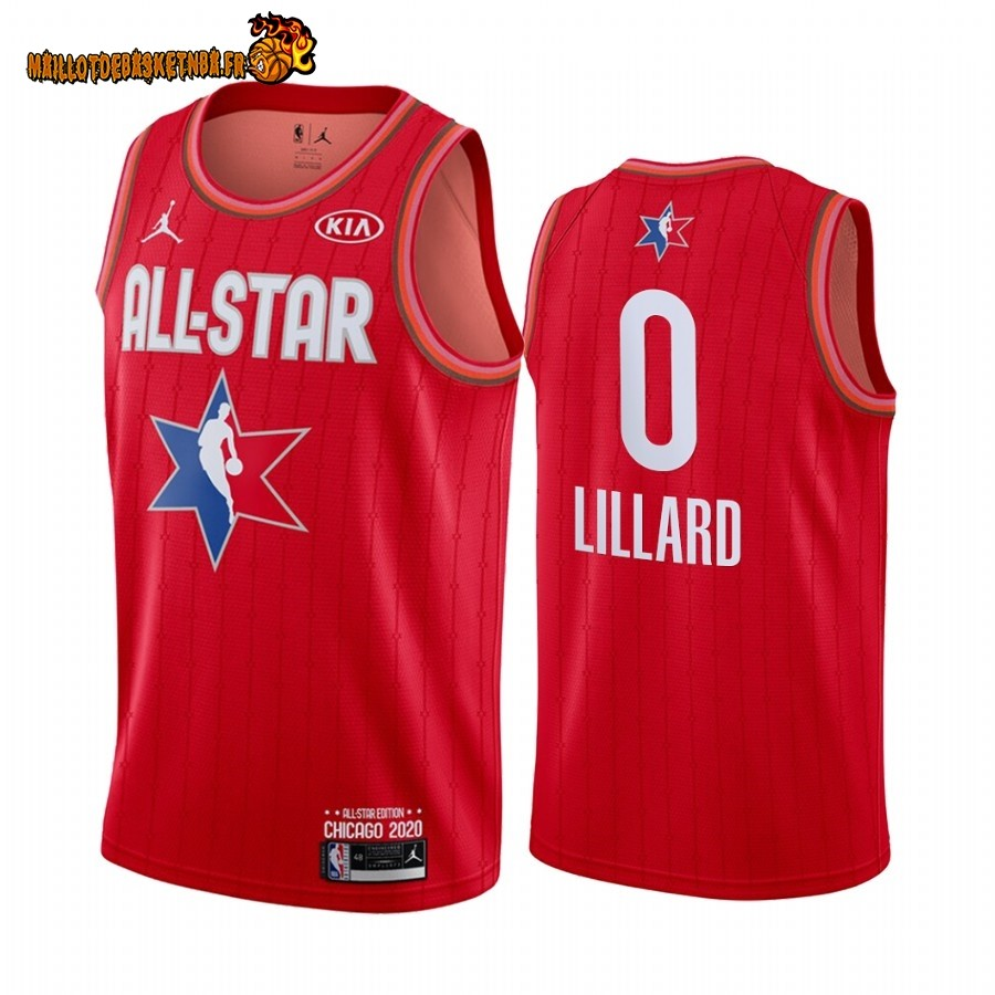 Maillot NBA 2020 All Star NO.0 Damian Lillard Rouge
