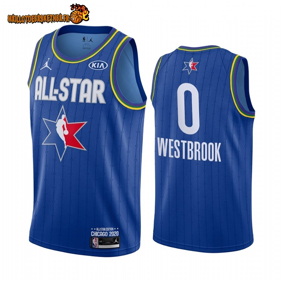 Maillot NBA 2020 All Star NO.0 Russell Westbrook Bleu