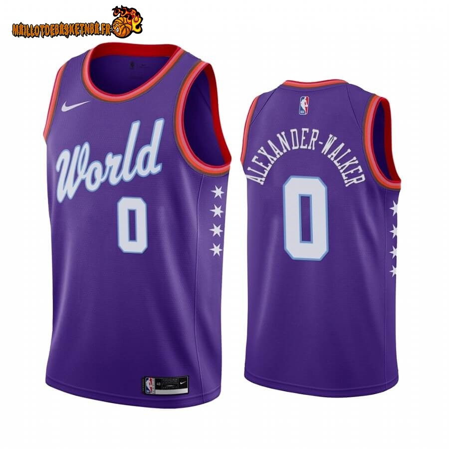 Maillot NBA 2020 Rising Star NO.0 Nickeil Alexander Walker Pourpre