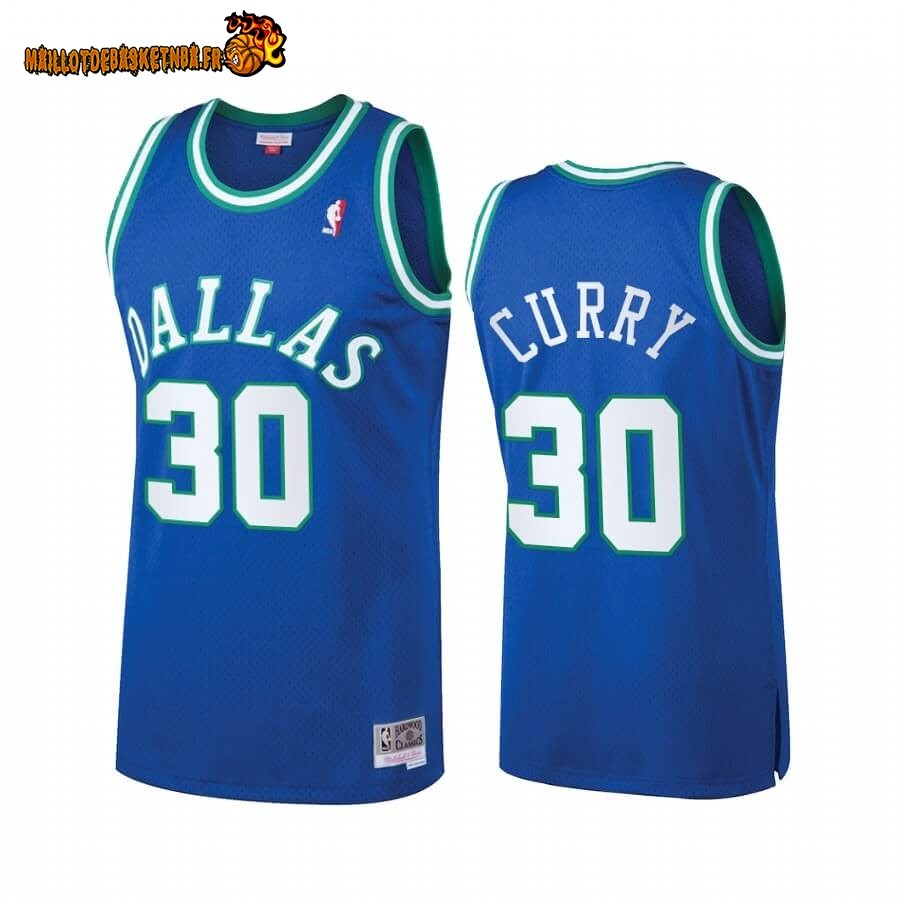 Maillot NBA Dallas Mavericks Heritage NO.30# Seth Curry Bleu Hardwood Classics