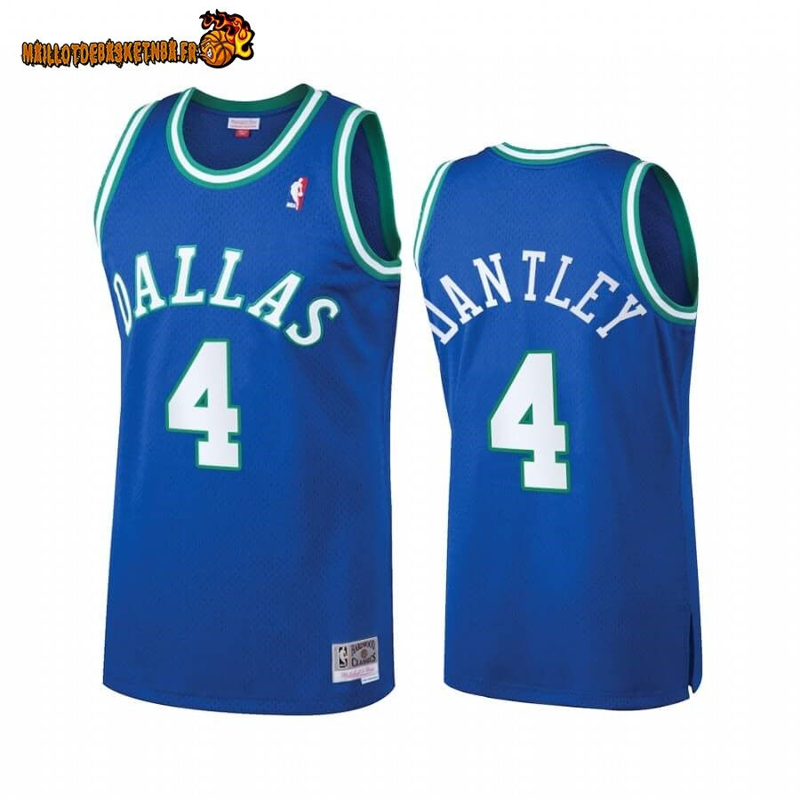 Maillot NBA Dallas Mavericks Heritage NO.4# Adrian Dantley Bleu Hardwood Classics